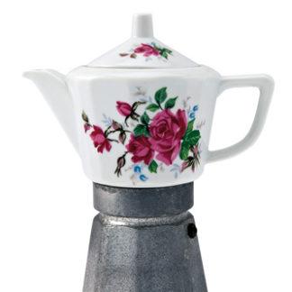 Caffettiera in ceramica con decori floreali