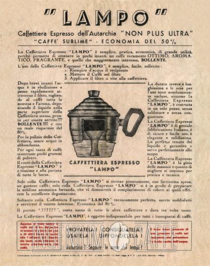 Caffettiera Lampo pubblicità