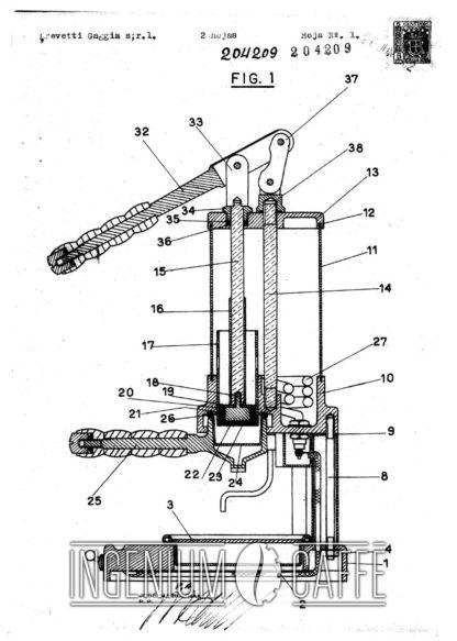 Gaggia Gilda 1948 - brevetto Spagna