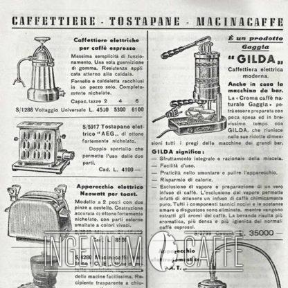 Gaggia Gilda 1948 - catalogo dell'epoca