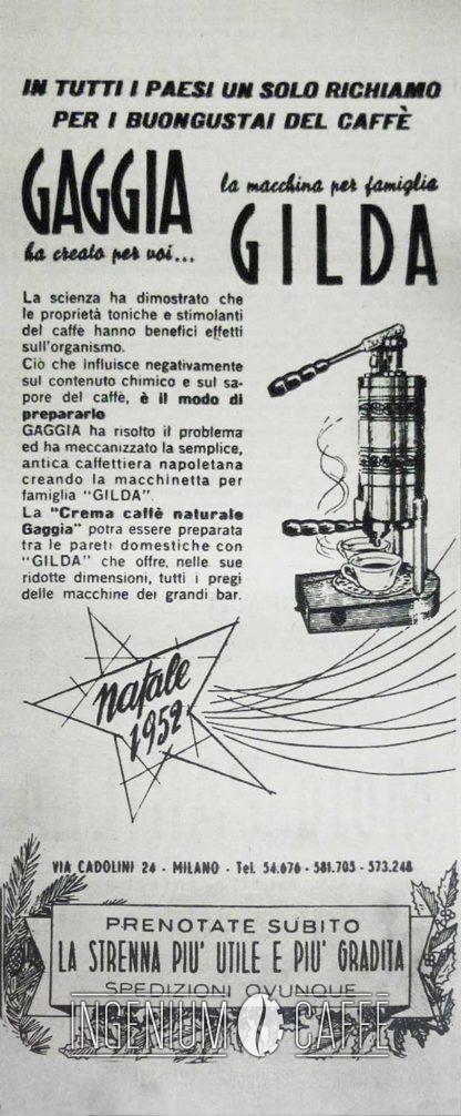 Gaggia Gilda 1948 - pubblicità originale