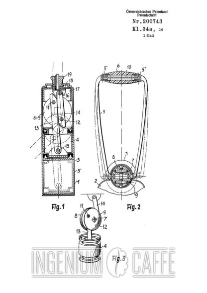 Caravel Arrarex brevetto Austriaco - leva e pistone